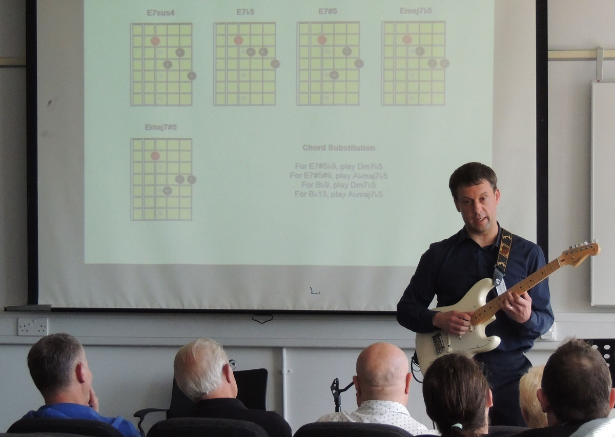 An audience of professional guitar tutors