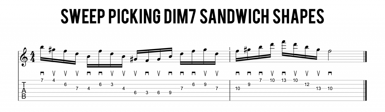 Sweep Picking Dim7 Sandwich Shapes#1